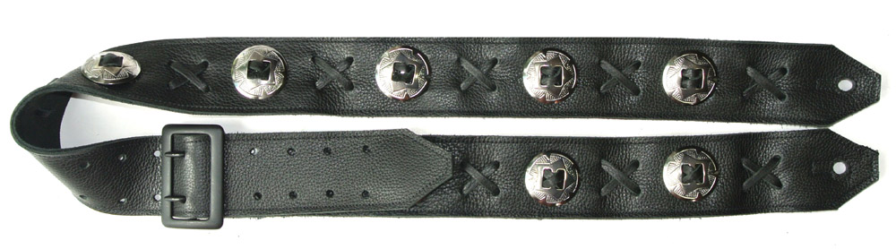 Black Leather Concho Guitar Strap