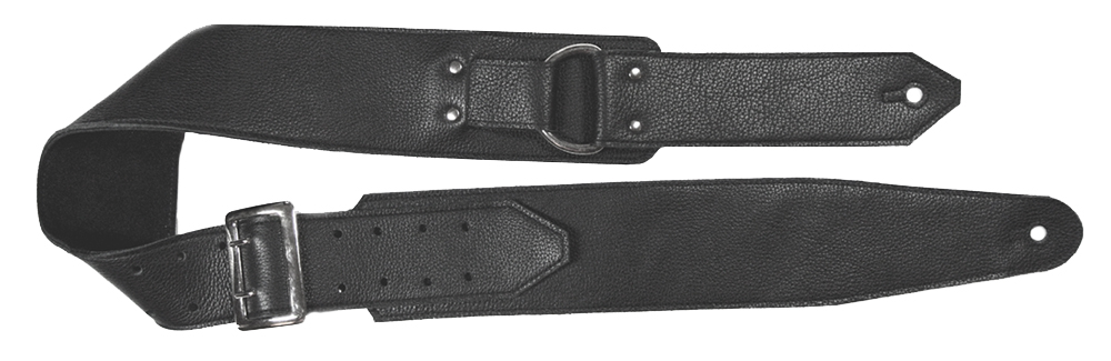 Black D-Ring Leather Guitar Strap