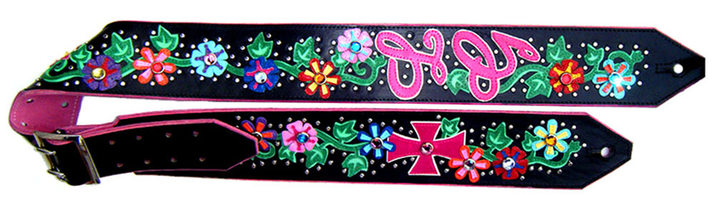 Flowers Custom Guitar Strap